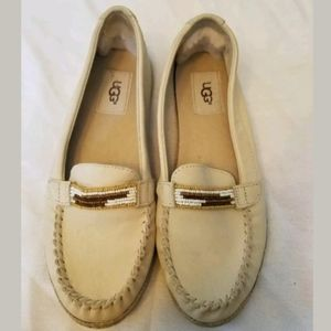 UGG Cream Colored Rozie Serape Beaded Loafers 6.5